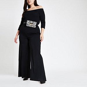 Plus black ribbed bardot jumpsuit