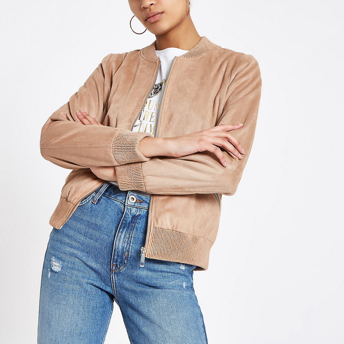 Brown faux suede bomber jacket