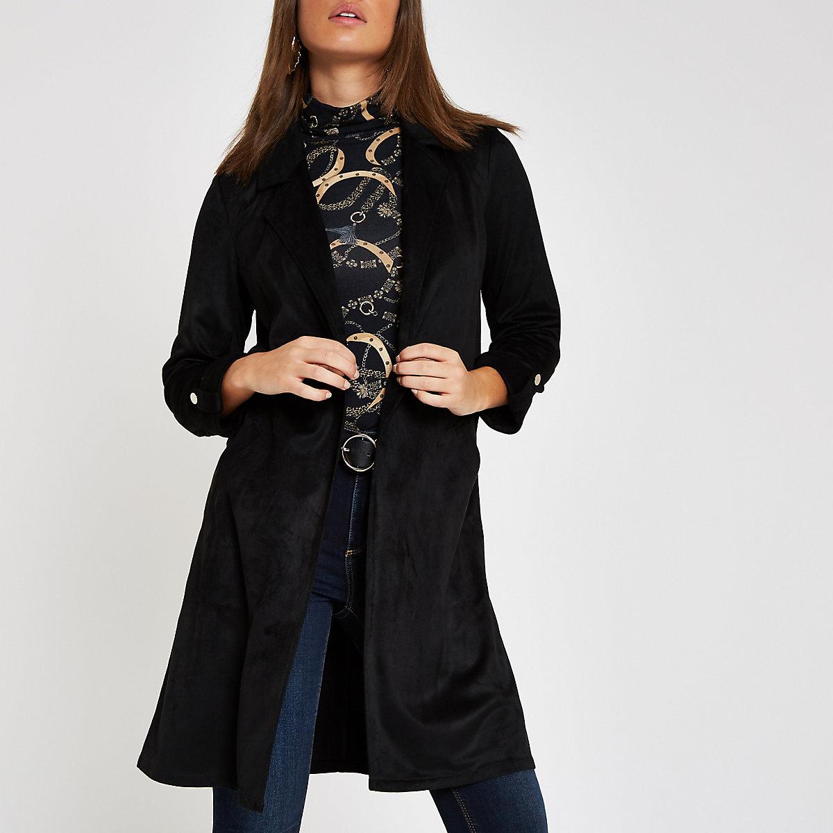 Black faux suede duster jacket