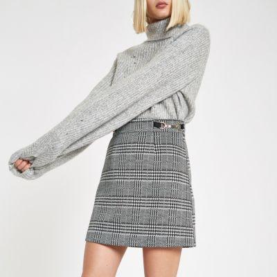Black Check Snaffle Mini Skirt by River Island