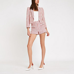 Red stripe button shorts