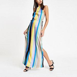 Blauwe gestreepte maxi-jurk met strikceintuur