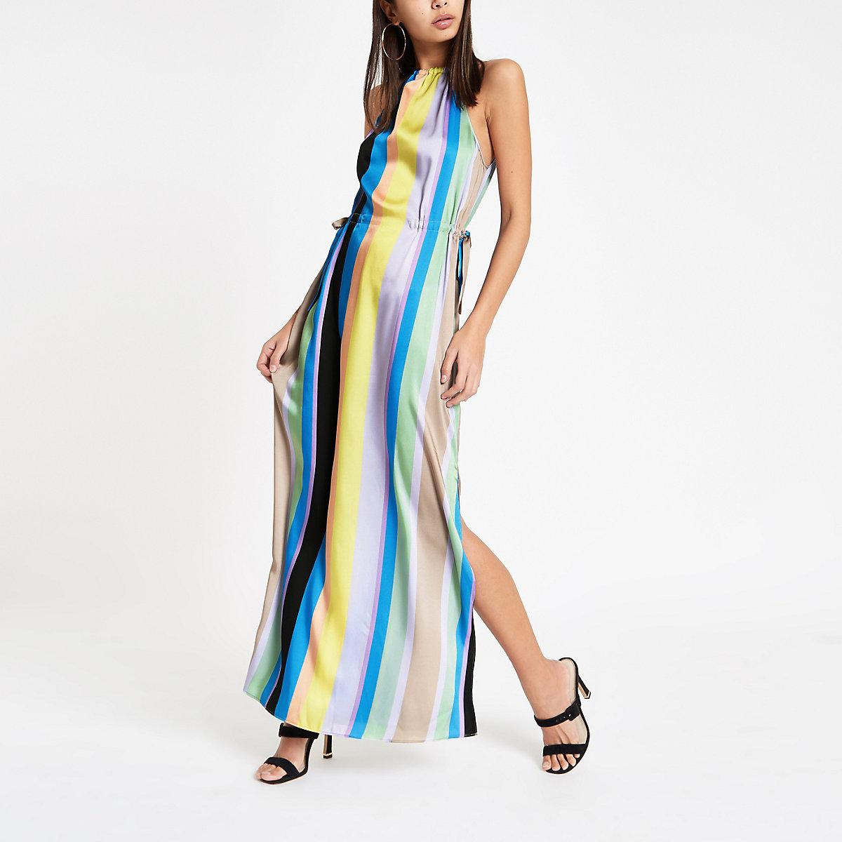 Blue stripe tie waist maxi dress
