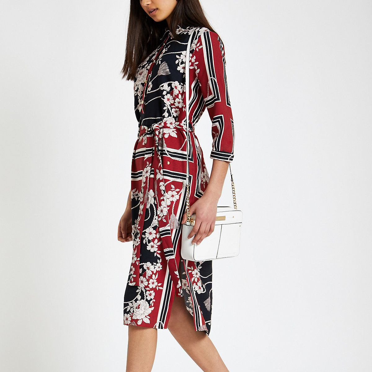 Red floral tie waist shirt dress