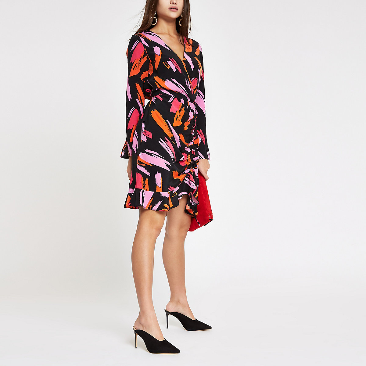 Pink print ruched wrap front dress