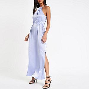 Robe longue trapèze bleu clair