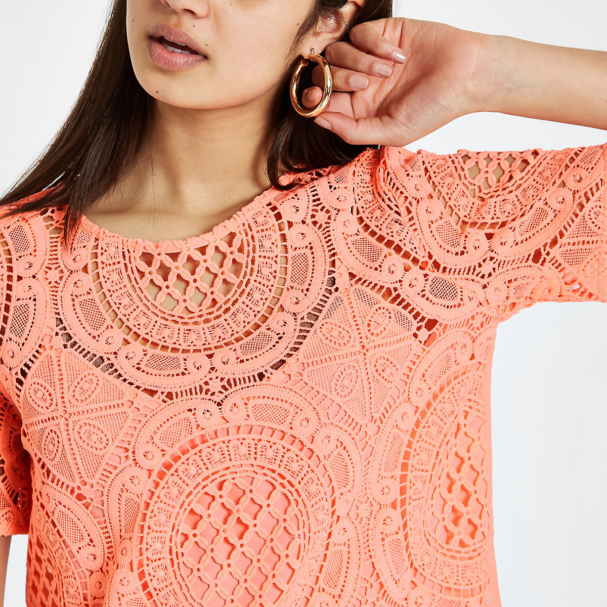 Coral loose fit lace T-shirt