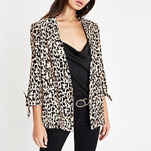 Brown leopard print tie sleeve blazer