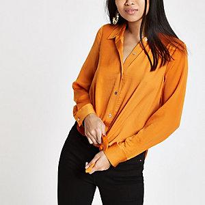 Petite – Chemise orange à manches longues nouée devant