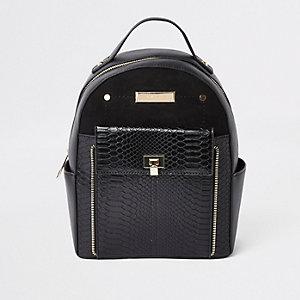 Mini sac à dos noir à poche avant