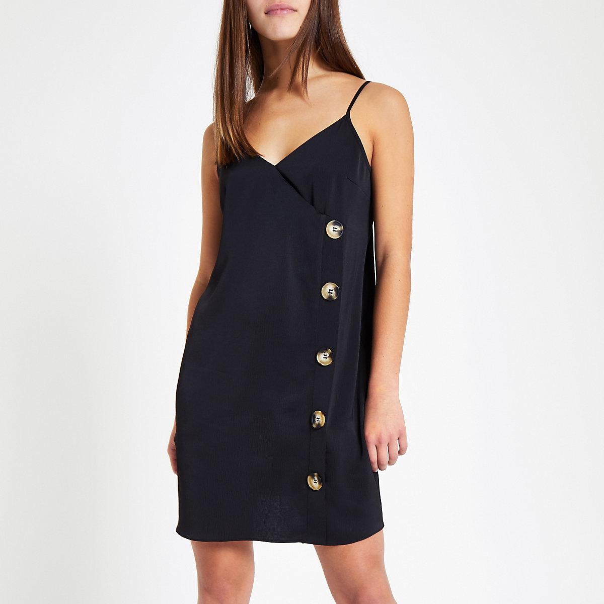Petite black satin loose fit cami dress