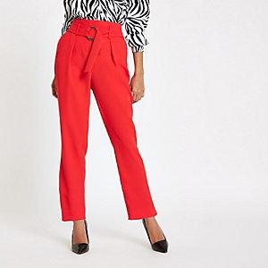 Petite – Pantalon carotte rouge noué à la taille