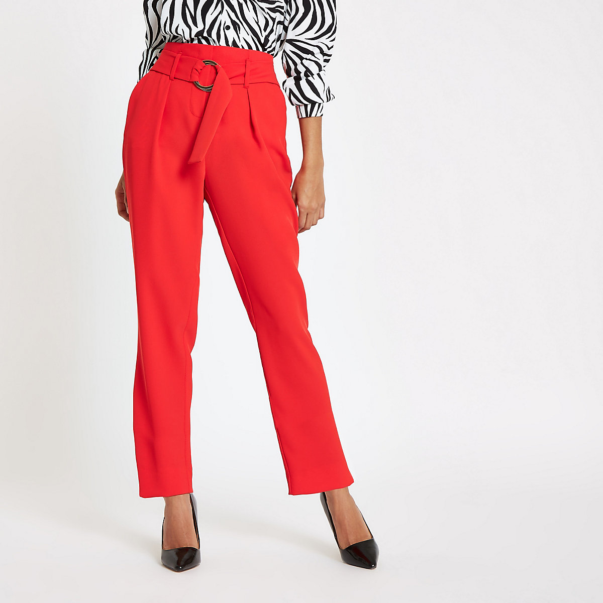 Petite red tie waist peg trousers
