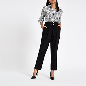 Petite black ring tie belted culottes