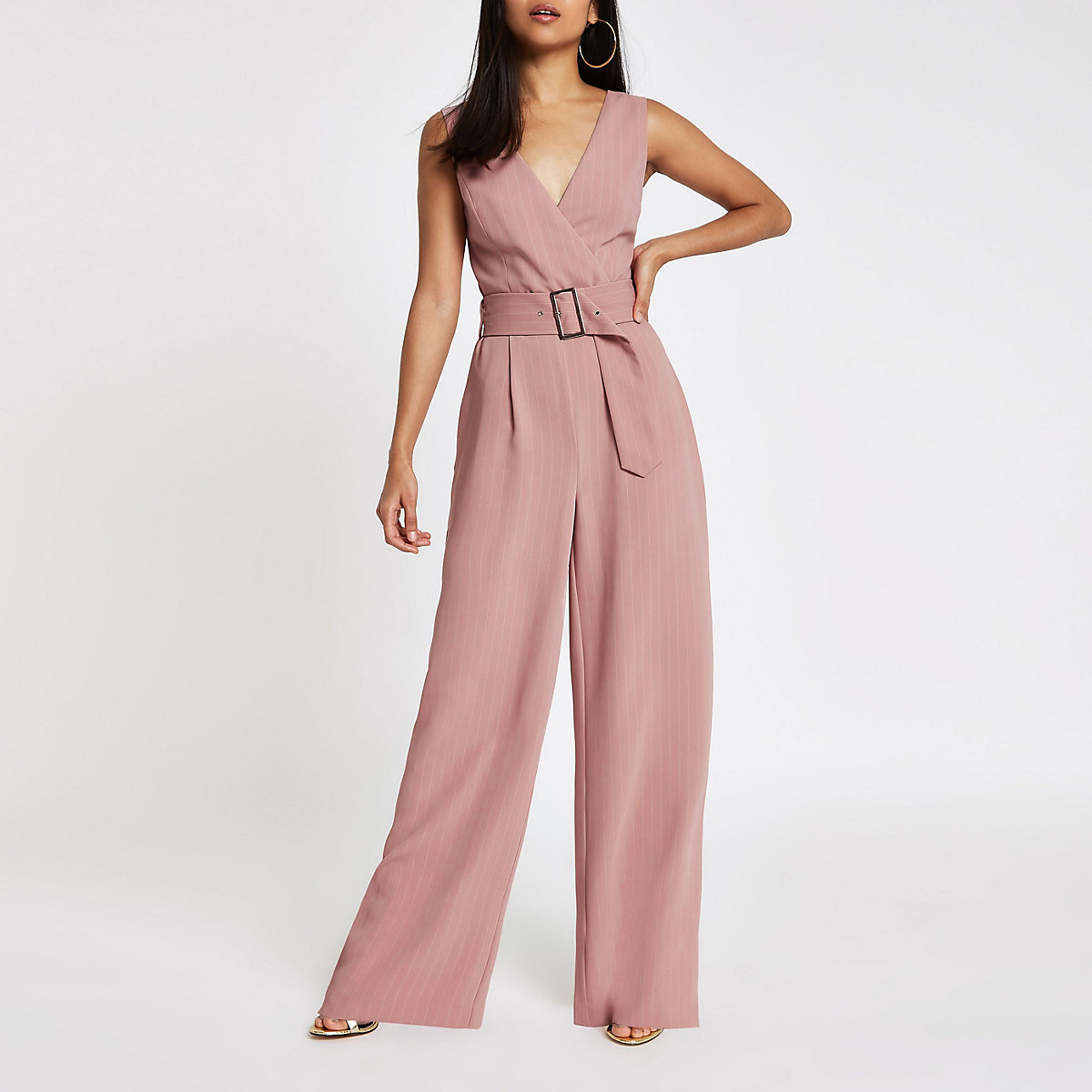 Petite Pink Belted Wide Leg Jumpsuit Jumpsuits Rompers