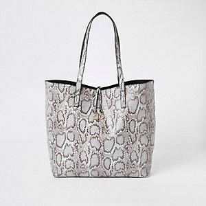 Light grey snake print large tote bag