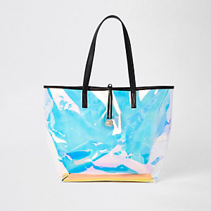 Silver perspex beach tote bag