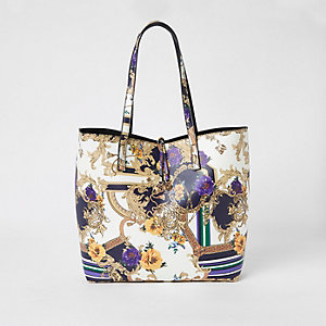 White scarf print large tote bag