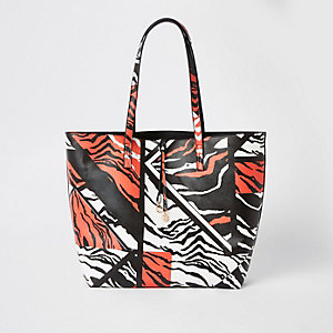 Red zebra print tote bag