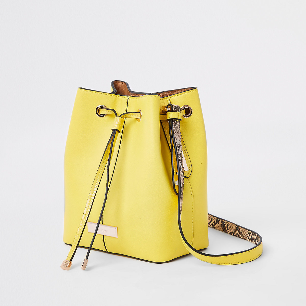 Yellow faux leather duffle cross body bag