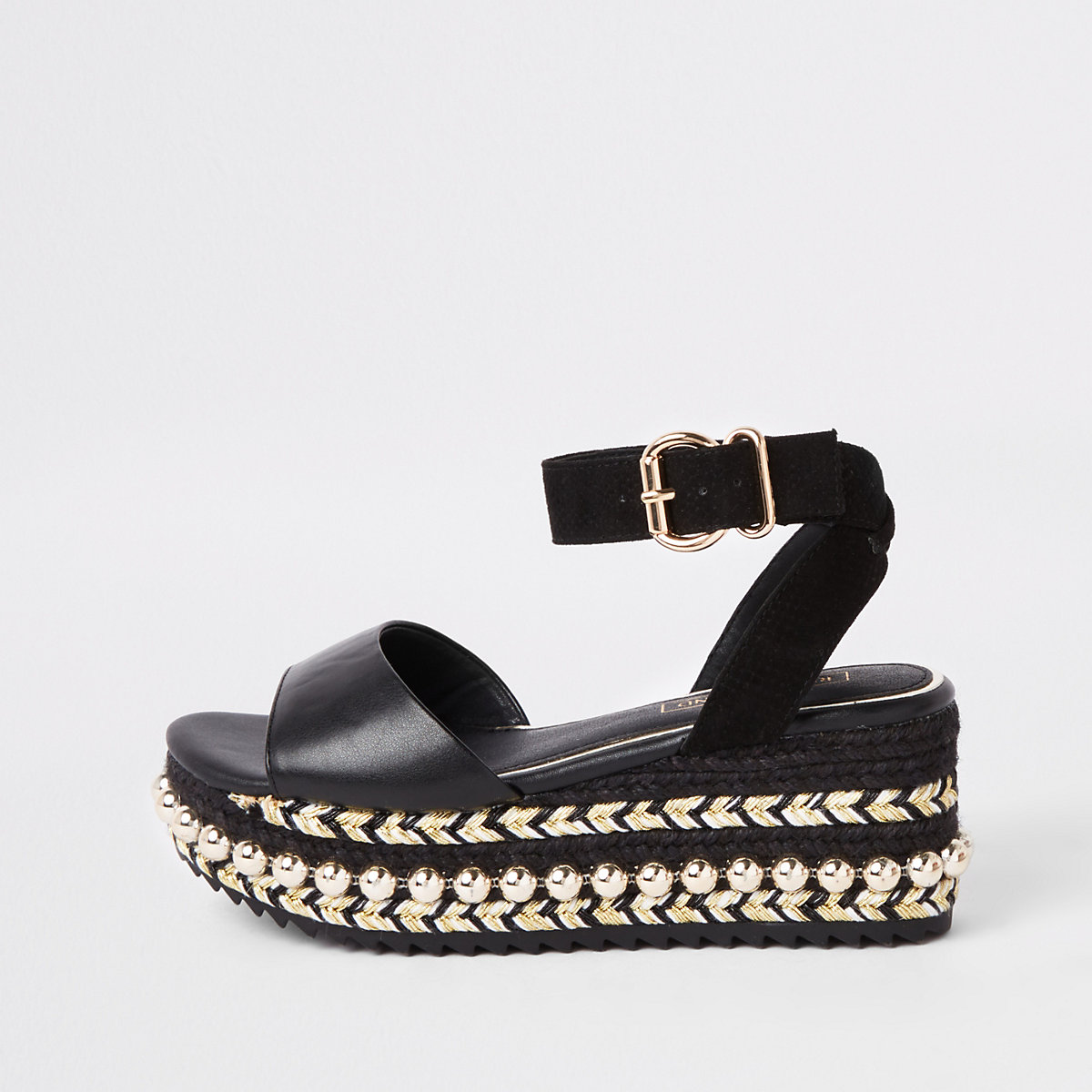 Black studded flatform espadrille wedges