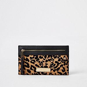 Porte-monnaie slim imprimé léopard beige