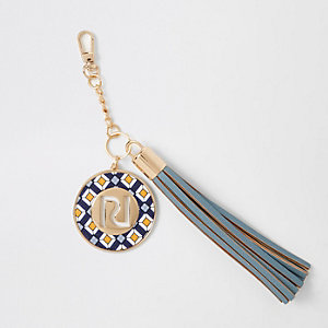Blue tassel charm keyring