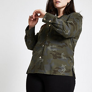 Plus khaki camo button front shacket