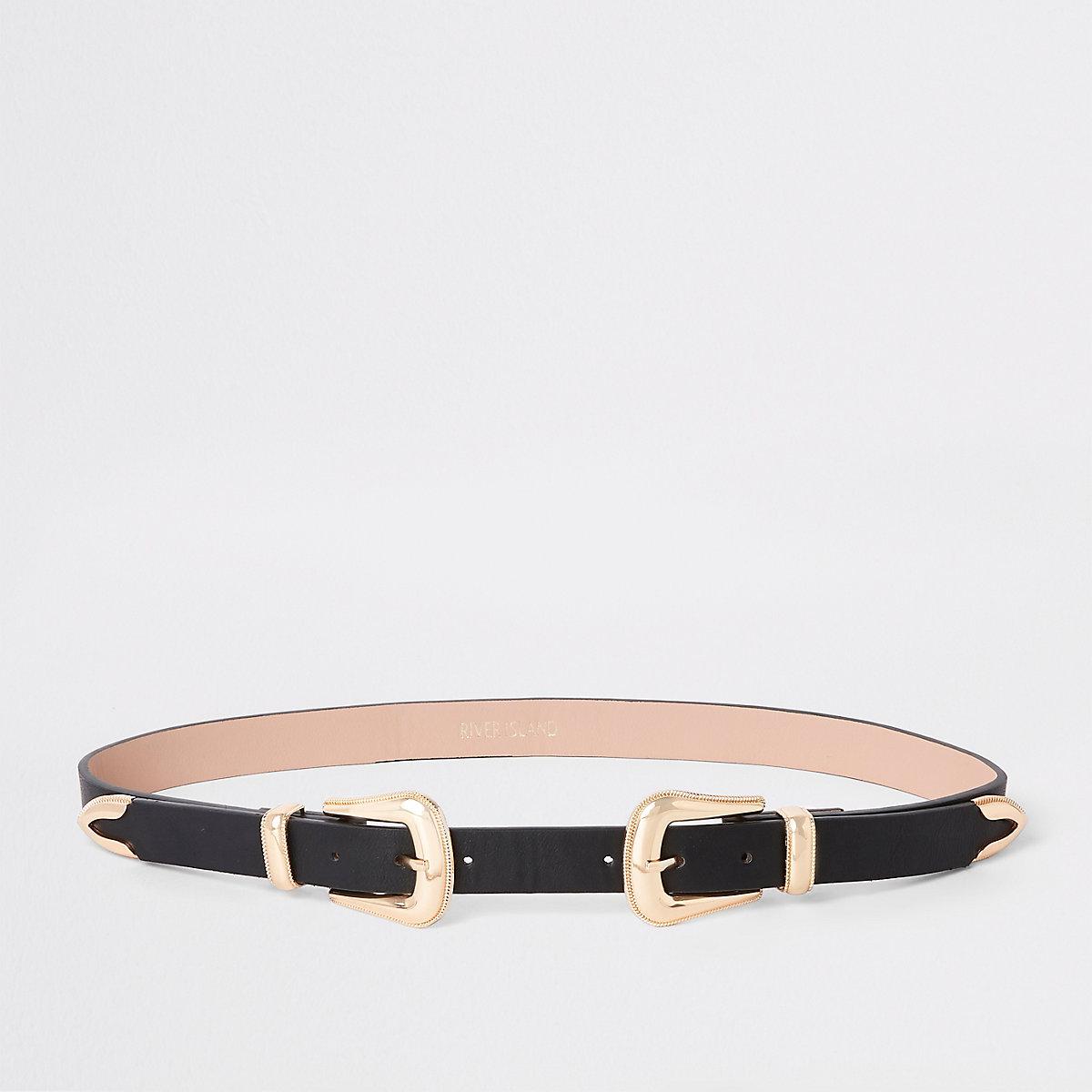 Black western double buckle belt