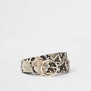 Beige snake print double ring mini jeans belt