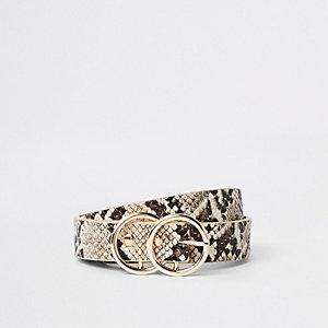 Beige mini-jeansriem met slangenprint en dubbele ring