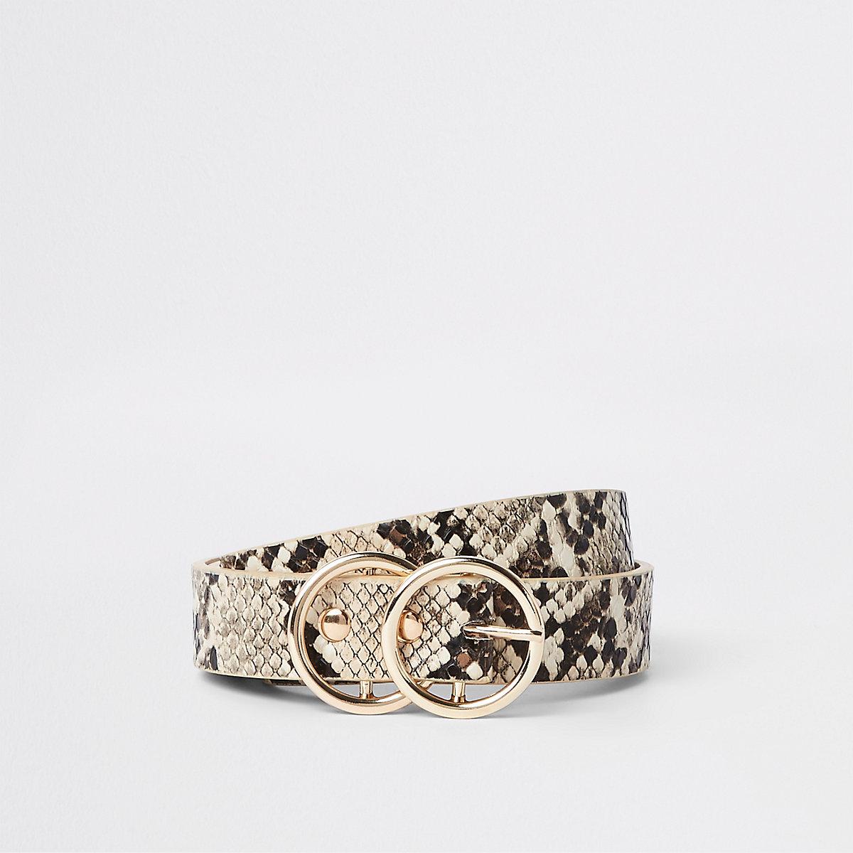 Ceinture fine beige à deux anneaux imprimé serpent