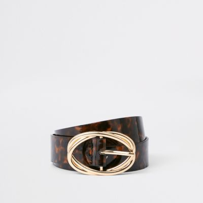 Brown Tortoise Shell Ring Belt by River Island
