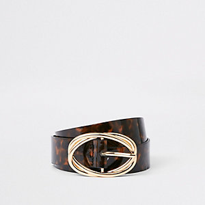 Brown tortoise shell ring belt