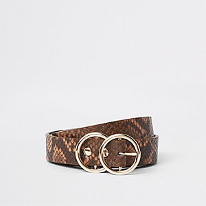 Brown snake print double ring mini jeans belt