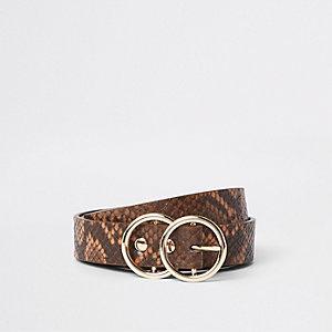 Bruine mini-jeansriem met slangenprint en dubbele ring