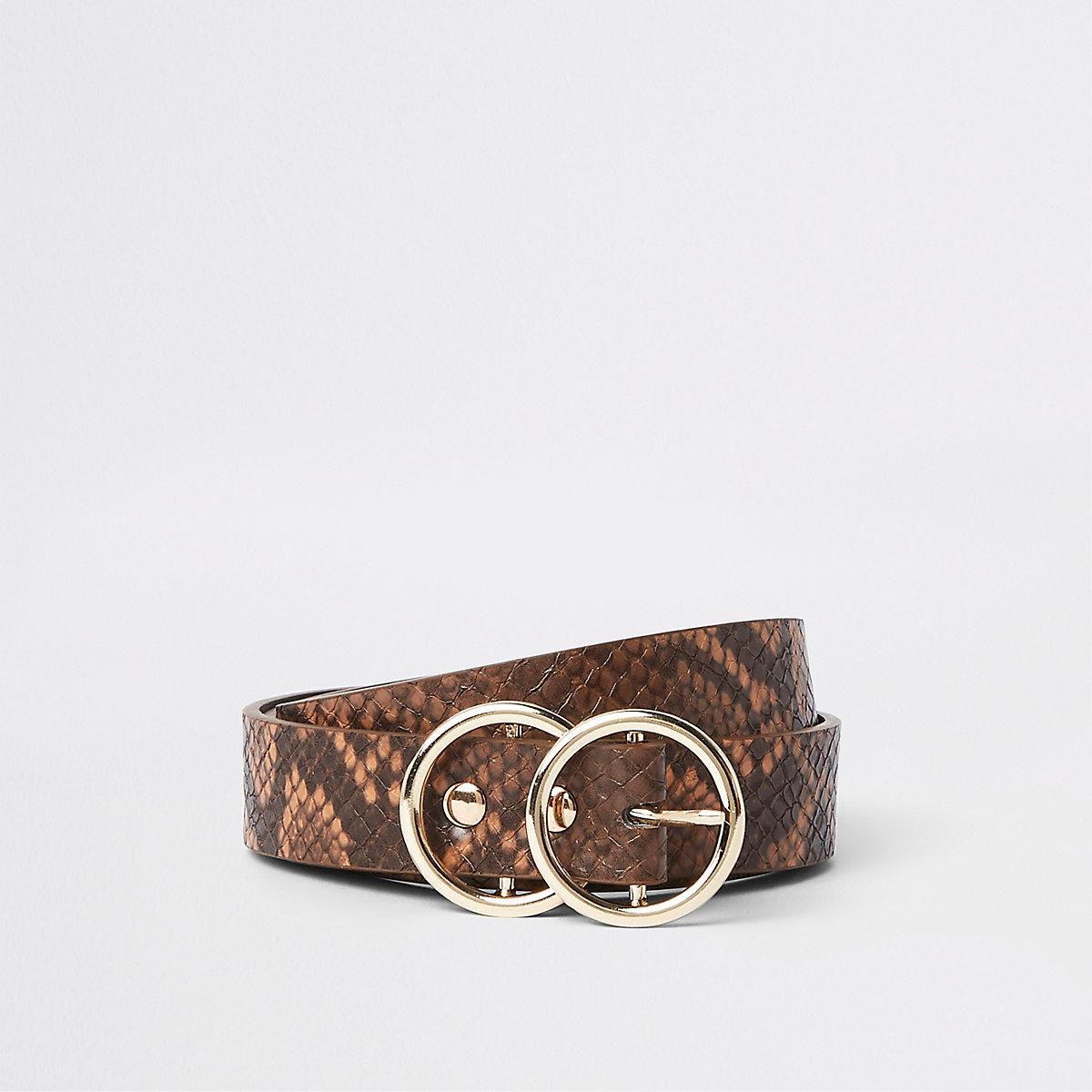 Brown snake print double ring mini jeans belt