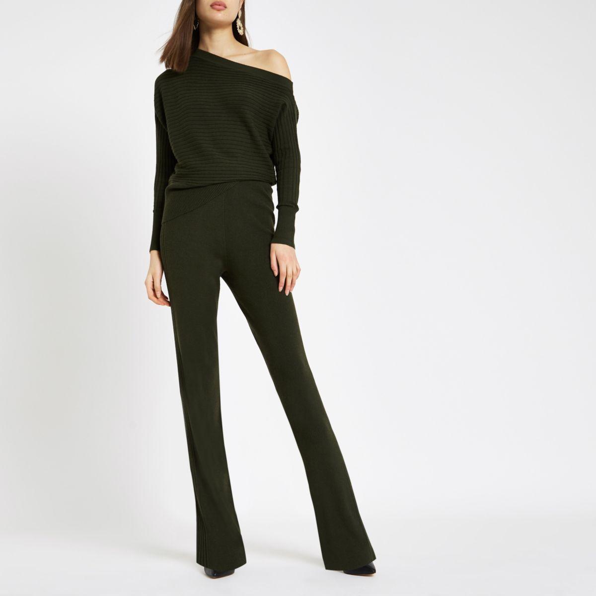 Khaki knit wide leg trousers