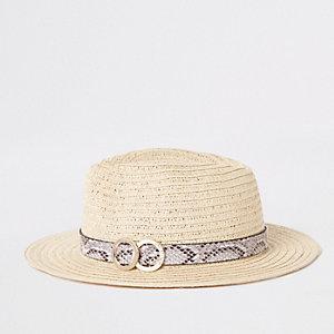 Chapeau de paille beige avec bordure à imprimé serpent
