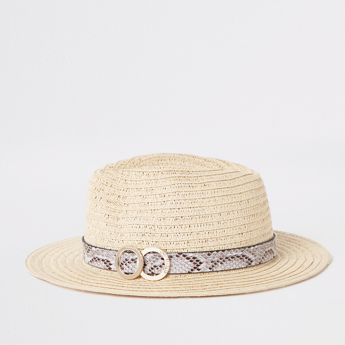Beige snake print trim straw hat