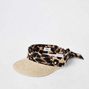 Beige straw leopard print visor hat e90ac7160830