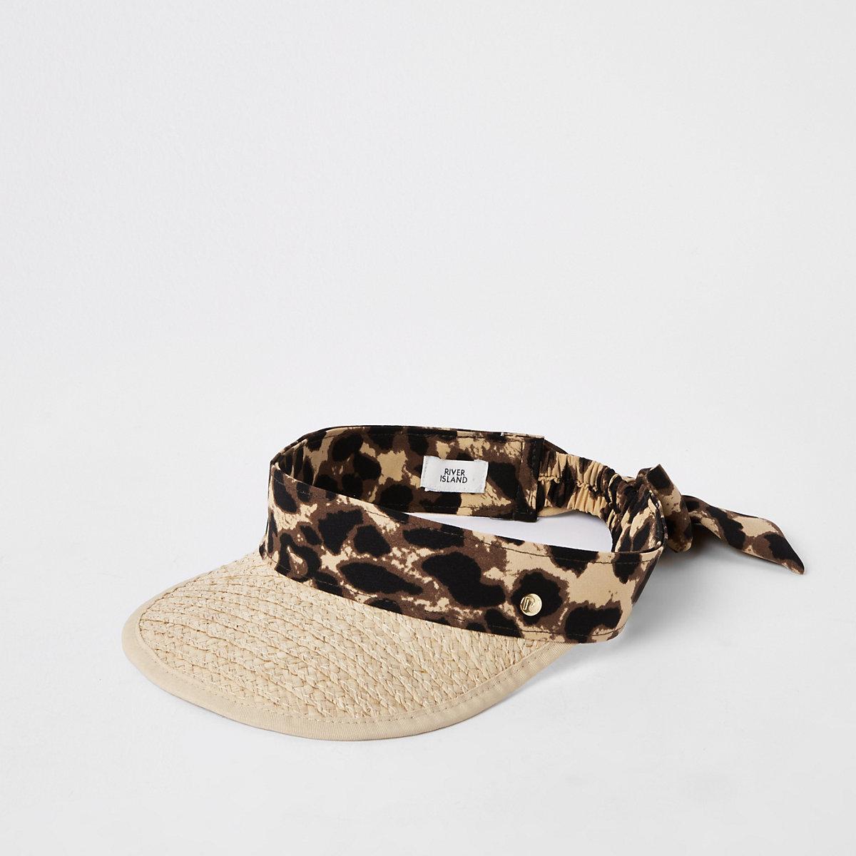 Beige visor strohoed met luipaardprint