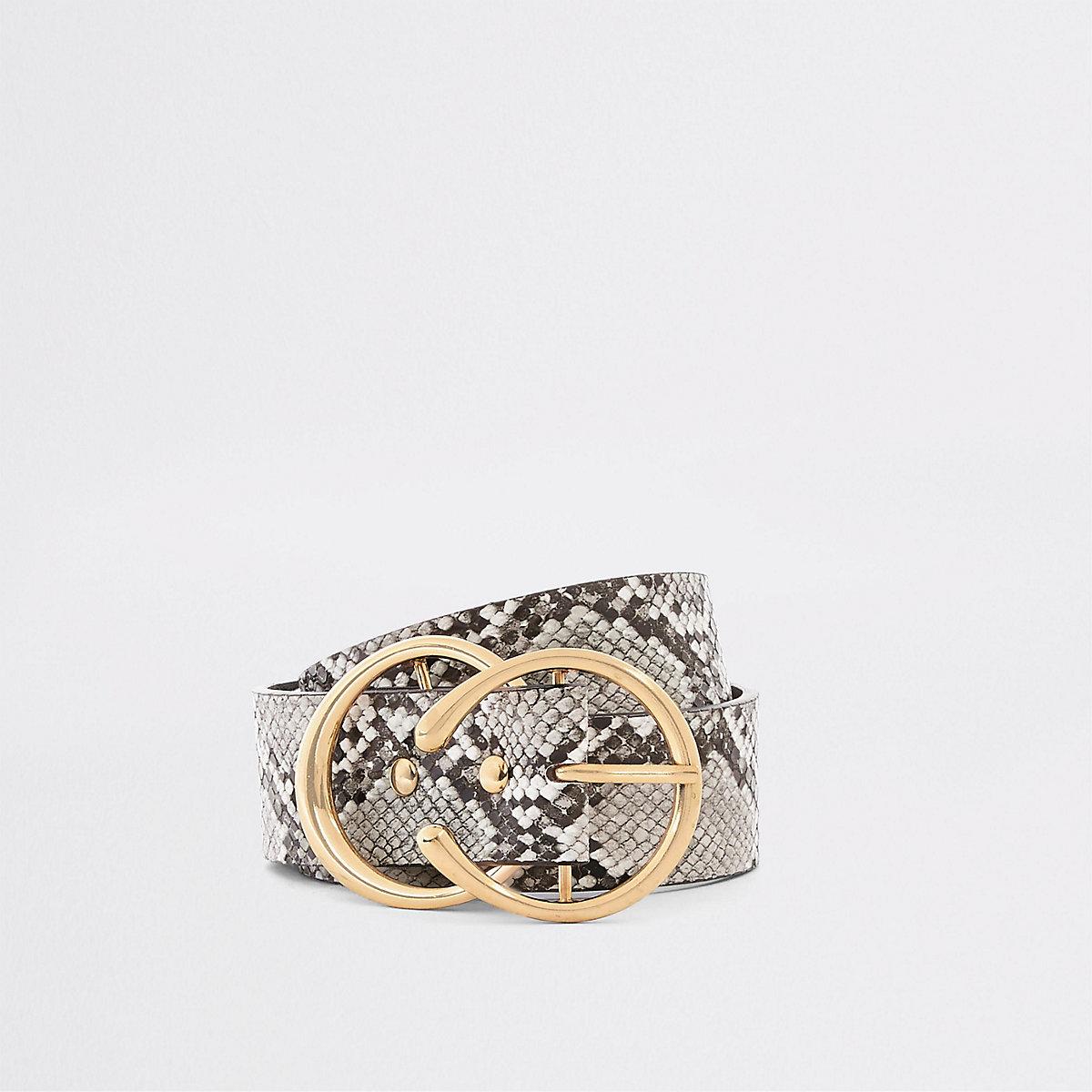 Black snake print double ring belt