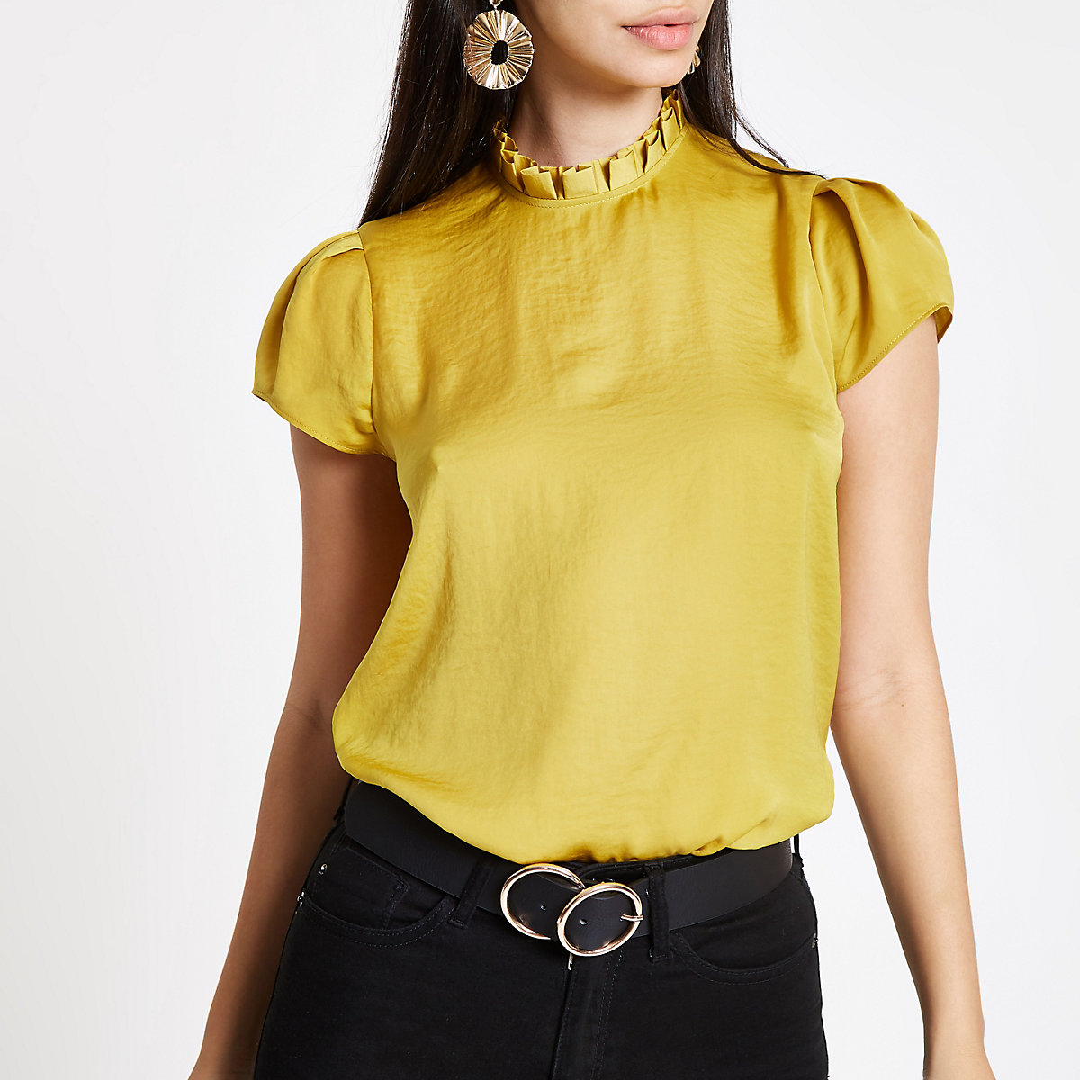 Yellow frill neck shell top