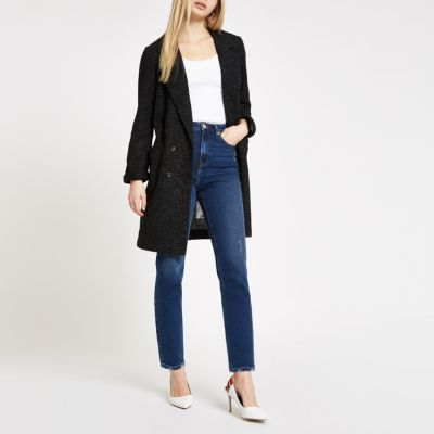 Black Long Line Jersey Blazer by River Island