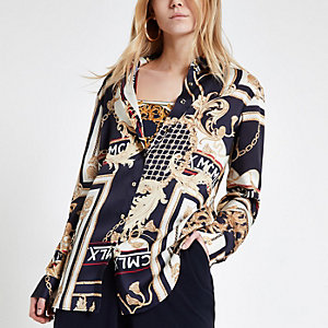 Navy chain print oversized shirt