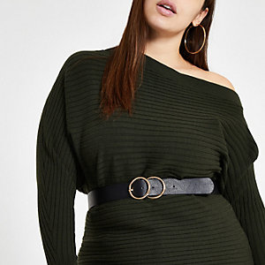 Plus dark green open neck rib knit jumper