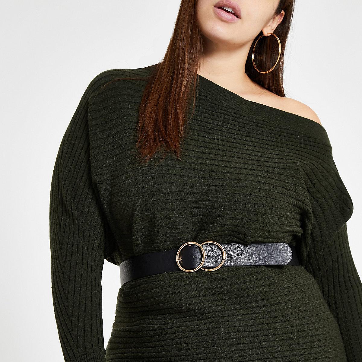 Plus dark green open neck rib knit sweater
