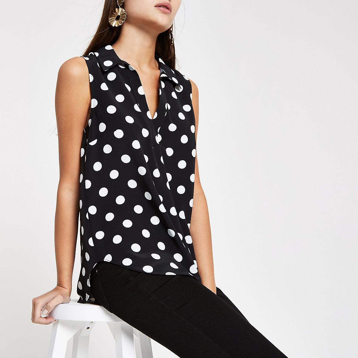 Black spot print V neck sleeveless top