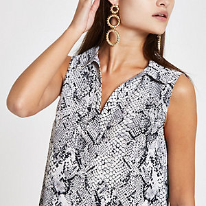 Grey snake print V neck sleeveless top